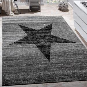 Designer Teppich Stern Muster Modern Trendig Kurzflor Meliert In Grau Schwarz, Grösse:80x150 cm