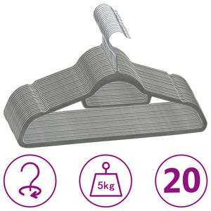 vidaXL 20 Stk. Kleiderbügel-Set Anti-Rutsch Grau Samt