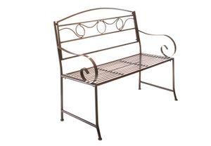 Metallbank Gartenbank Bank aus Eisen mit Armlehne - braun - 118x45x100 cm