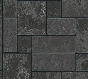 A.S. Création Fliesentapete Il Decoro Strukturprofiltapete schwarz silber 10,05 m x 0,53 m