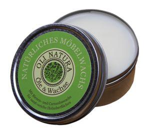 OLI-NATURA Möbelwachs mit Carnaubawachs und Bienenwachs, Holzwachs farblos, Inhalt: 125 ml