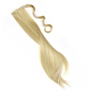 Haarteil Zopf Pferdeschwanz glatt 60 cm zum anklipsen Haarverlängerung Pony in der Farbe goldblond NEU