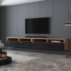 Selsey TV-Schrank  REDNAW - modernes TV-Board in Wotan Eiche Matt / Schwarz Hochglanz, stehend / hängend, 200 cm breit
