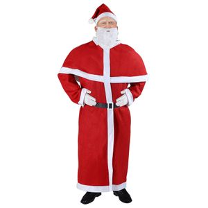 Deuba 5tlg. Set Nikolaus Anzug Weihnachtsmann Erwachsenen Kostüm Santa Claus Cosplay Verkleidung Einheitsgröße M - XXXL