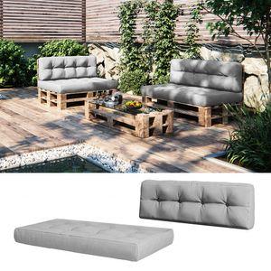 Vicco Palettenkissen Set Sitzkissen + Rückenkissen 15cm hoch Palettenmöbel grau