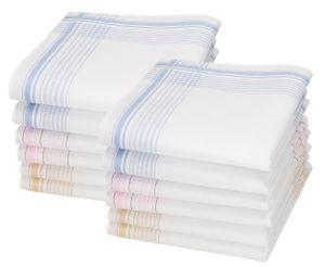 Betz 12 Stück Damen Stoff Taschentücher Set Chanelle2 Größe 28x28 cm 100% Baumwolle Farbe - Dessin 130