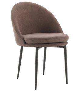 Esszimmerstühle Polsterstuhl Wohnzimmerstuhl Besucherstuhl Designerstuhl mit Rückenlehne Metallbeine Braun