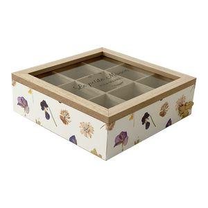 Teebox Teekasten Aufbewahrungs Box Holz 9 Fächer Blumen Glasdeckel B23xL23xH8cm