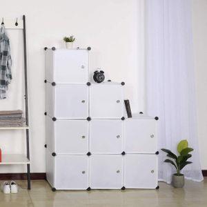 WOLTU Garderobenschrank SR0055ws DIY Kleiderschrank Steckregal Aufbewahrung Lagerregal mit Tür, 9 Fächer, Kunststoff Weiß