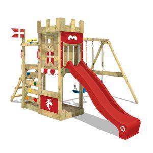 WICKEY Spielturm Ritterburg RoyalFlyer mit Schaukel & roter Rutsche, Spielhaus mit Sandkasten, Kletterleiter & Spiel-Zubehör