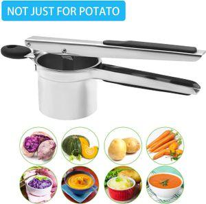 Kartoffelpresse Edelstahl Rostfrei, Professionell Spätzlepresse -Kartoffelstampfer mit 3 Lochscheiben für Kartoffelpüree, Obstsäfte, Gemüsebrei, Größe 29,5 x 8 x 9,5 cm