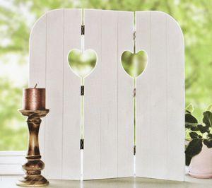 58 cm Wandschirm HEART Fensterdeko Fensterladen Aufsteller Holz Shabby Chic Deko (Weiß)