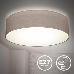 Deckenlampe Stoffdeckenleuchte Deckenleuchte Bürolampe Textilschirm E27 2-Flammig Ø38cm Taupe ohne Leuchtmittel B.K.Licht
