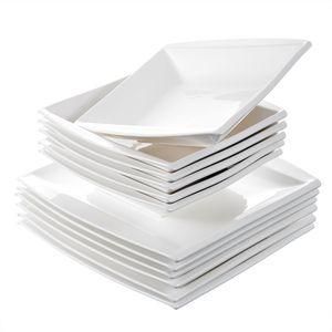 MALACASA Serie Blance, 12 teilig Teller Set, Beinhaltet 6 Speiseteller und 6 Suppenteller 630 ml, Eckig Essteller