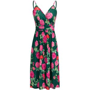 Damen Sling Print Pocket Beach Urlaubskleid,Farbe: Grün,Größe:L
