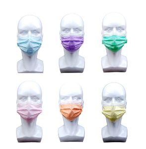 60 Stück Mundschutzmasken 3-lagig Mundschutz Gesichtsmaske Einwegmaske(Lila+Blau+Rosa+Orange+Gelb+Grün)