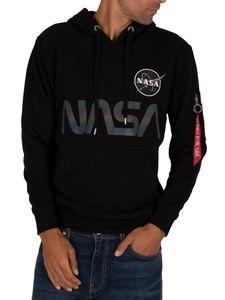 Alpha Industries Herren NASA Rainbow Ref Pullover Hoodie, Schwarz M