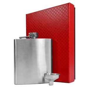 eyepower Flachmann-Set Geschenkbox Edelstahl 210 ml mit Trichter   Taschenflasche in Geschenkbox