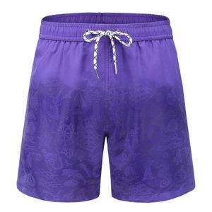 Herren Aquarellwechsel Badehose Strandhose Warme Farbwechsel Shorts Größe:XXXL,Farbe:Lila