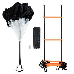 Navaris Trainingsset Sport mit Fitnessleiter - inkl. Koordinationsleiter, Widerstandsfallschirm, Befestigungshaken und Tragetasche - Agility Ladder