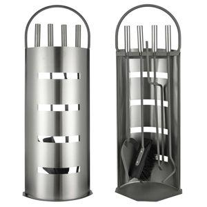 HI Kaminwerkzeug-Set 5-tlg. Silbern 23x14,5x66 cm