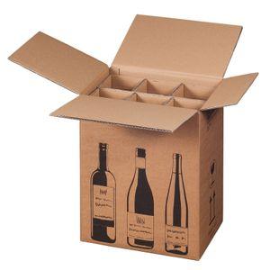 10 x Flaschen-Versandkarton, für 6 Flaschen, Weinkarton Weinversandkarton PTZ-