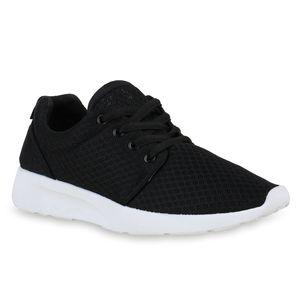 Mytrendshoe Damen Sportschuhe Laufschuhe Sneaker Schnürer Turnschuhe Profil 820763, Farbe: Schwarz Weiß, Größe: 38