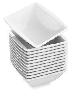 MALACASA, Serie Blance, 12 teillig 350ml Cremeweiß Porzellan Schüsseln Set Müslischalen