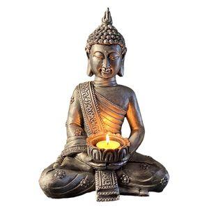 Ornamente Statue Buddha Statue Wohnkultur, Harz Buddha Teelichthalter, Figuren Zimmer Dekoration Kerzenhalter, Garten Skulptur C.