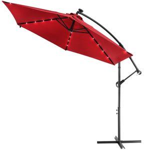 Sonnenschirm Ampelschirm 300cm Solar LED Beleuchtung Gartenschirm Kurbel wasserabweisend, Farbe:rot