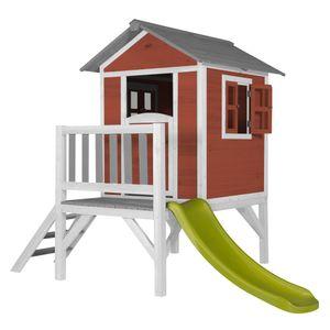 AXI Spielhaus Beach Lodge XL in Rot mit hellgrüner Rutsche | Stelzenhaus ausHolz für Kinder | Kleiner Spielturm für den Garten