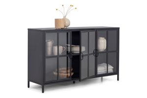 HOMEXPERTS Sideboard CHOICE, Kommode mit Glastüren, Breite 140 cm, Metall schwarz
