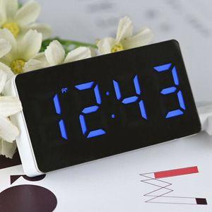 LED Spiegel Digitaler Wecker Mit 3 Modi (Uhrzeit, Datum, Temperatur) Nachtwecker Autouhr-Blaue Zahlen
