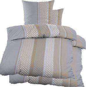 4-tlg. Biber Winter Bettwäsche 2x (135 x 200 + 80x80 cm), 100% Baumwolle, grau taupe, gemusterte Streifen