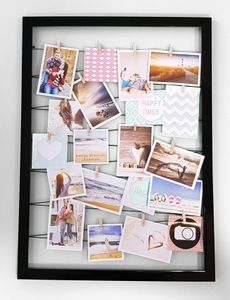Fotohalter auf Gummileine mit 20 Clips 55x75 cm - Farbe: schwarz