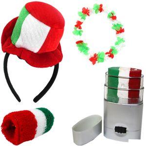 "Fanset ""Italien"" Italy Italia Mini Zylinder Haarreif Blumenkette Schminkstift Schweißband"