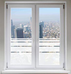 INDIGOS UG Sichtschutzfolie Fensterfolie Glasdekorfolie Dynamische Streifen satiniert blickdicht ORACAL® - 1200mm Breite x 500mm Höhe