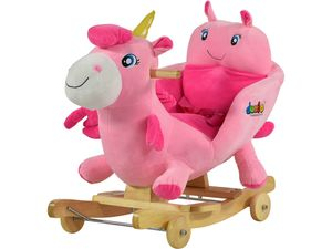 Dunjo® Schaukeltier Einhorn Baby mit Sitz, Rollen und Musik, Plüsch Schaukelpferd für Kleinkinder und Babys ab 1 Jahr