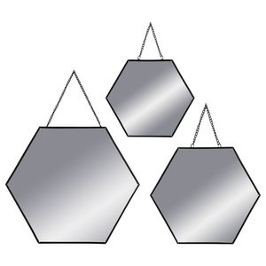 Spiegel Wandspiegel Sechseck Metall 3-er Set