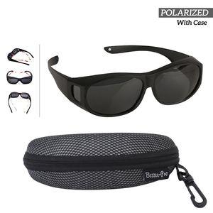 Sonnenbrille Überziehbrille für Brillenträger - Polarisiert - Männer & Frauen Radfahren gegen Blendung - leicht - komfortabel - Sonnenüberbrille über normale Brillen (schwarz)