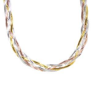 Damen  Kette Collier echt Silber 925 tricolor Zopfmuster : 50 cm