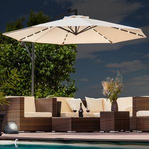 Luxus Sonnenschirm mit LED Beleuchtung Ampelschirm 350 cm Garten Schirm Pavillon - anthrazit