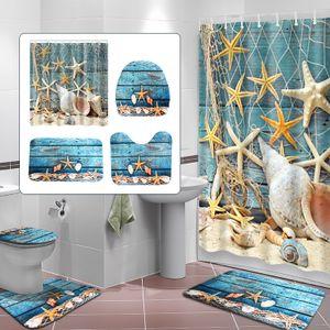 Seestern Motiv  Badezimmerteppich Badematten Set + Duschvorhang (180x180cm)mit 12 Duschvorhangringen