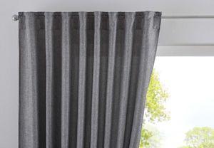 Vorhang Verdeckte Schlaufen Cationic »JENA« HxB 225x140 cm Grau Blickdicht Leinen Optik Gardine Meliert Gardinenband mit Raffhalter , 2019037