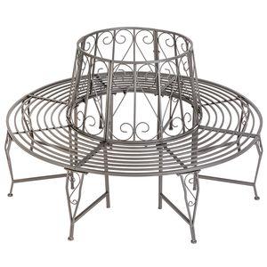tectake Baumbank 360° aus Stahl - anthrazit