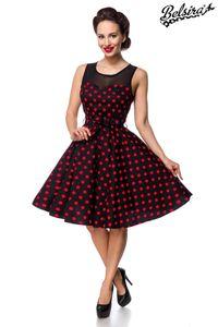 Retro Vintage Kleid mit Netzeinsatz, Farbe: Rot/Schwarz, Größe: L