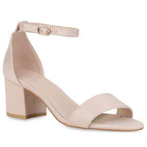 Mytrendshoe Klassische Damen Sandaletten Basic Mid Heel Blockabsatz Schuhe 826401, Farbe: Creme, Größe: 40