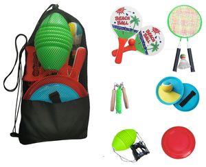 Garten & Strandspiele Set Beachball Klettball Frisbee Mini-Badminton Boing Ball Spiele für draußen