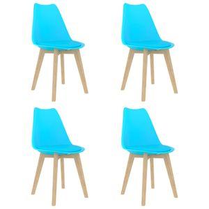 Esszimmerstühle 4 Stk. Blau Kunststoff