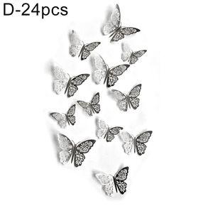 24 Stš¹ck Hohl 3D Schmetterling Wandaufkleber Kunst Aufkleber Raum Party Hochzeitsdekoration Silber D 40g